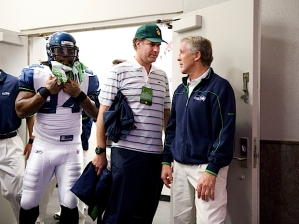 Outside the locker room, head coach Pete Carroll stopped for a brief word with friend and actor Will Ferrell, who spoke to the players during the team meeting on Saturday night.