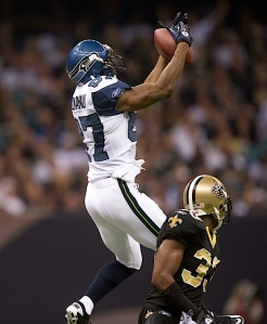 Receiver Ben Obamanu had a big game, tallying five catches for 87 yards including this reception for 42 yards.
