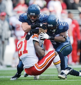 Seattle's special teams continued to dominate with Will Herring (54) and Justin Forsett (20) making a jarring tackle.