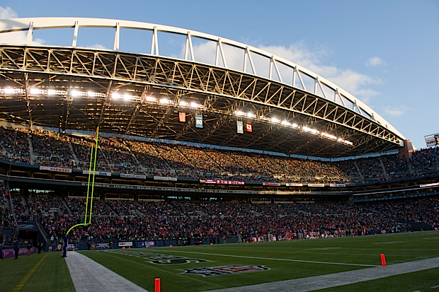 Qwest Field was a gorgeous site to behold from a weather standpoint, as sunny skies and early winter light shone down on the arches of the stadium.