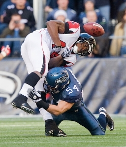 Linebacker Will Herring forces a fumble by Atlanta's, but the Seahawks were unable to recover the loose ball.