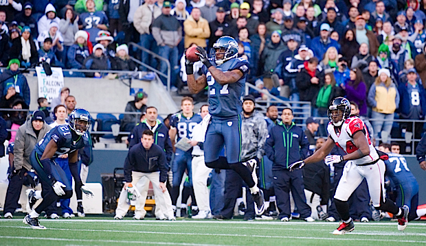 Seahawks defensive back Jordan Babineaux provided a highlight with this interception of a Matt Ryan pass.