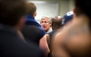 Head coach Pete Carroll speaks to the team in the locker room following the defeat.