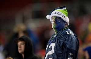 This Seahawks fan didn't have a lot to smile about as his team fell to Tampa Bay, 38-15, yet still remained in the hunt for the NFC West title and a playoff spot.