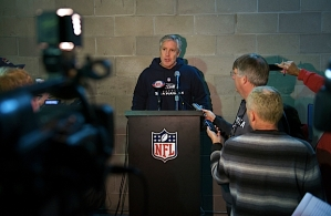 In the hallway outside of the locker room, Carroll faced the media, answering questions about Hasselbeck's injury and the upcoming game with the St. Louis Rams at Qwest Field.