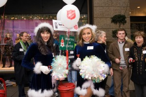 Sea Gals Mischell and Courtney were dressed in their holiday uniforms while bellringing with other Seattle celebrities.