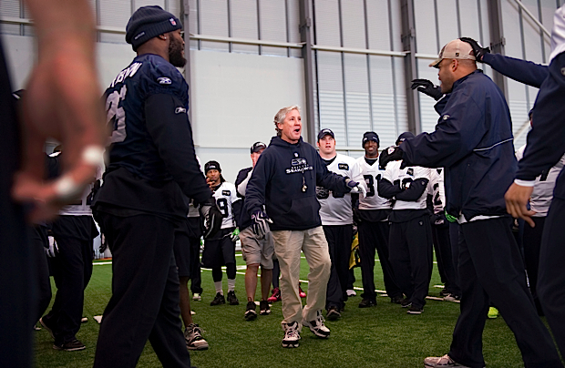 Head coach Pete Carroll called up linebackers coach Ken Norton, Jr. a three-time world champion, to end practice.