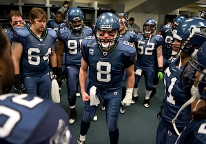 Seahawks quarterback and team captain Matt Hasselbeck took center stage in the locker room before the game, reminding his teammates that no one respected them or their record, and that they were playing to win for each other.