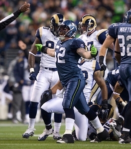 Matt McCoy gets pumped after one of his four tackles on special teams against the Rams.