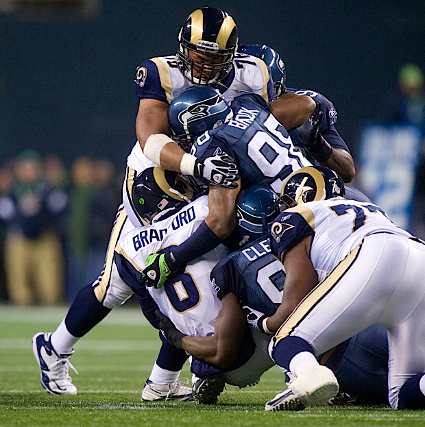 Raheem Brock played his best game as a Seahawk, leveling St. Louis quarterback Sam Bradford for a sack on this play. Brock was credited with 2.5 sacks against the Rams.