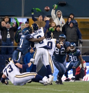Clemons again brought pressure on Bradford, this time forcing an incomplete pass as the Rams tried to score after a Seattle turnover.