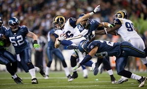 Head coach Pete Carroll praised all three aspects of his team's play -- offense, defense and special teams. Free safety Earl Thomas made a diving tackle on Rams return specialist Danny Amendola, flipping him through the air.