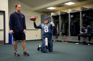 Before taking the field for pregame warmups, starting quarterback Matt Hasselbeck made some throws from his knees as he coaxed his injured body into gametime readiness.