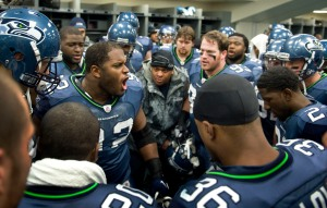 Brandon Mebane fires up his teammates before they headed to the field.