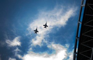 Two Navy EA-18 Growlers flew over the stadium at the conclusion of the national anthem.