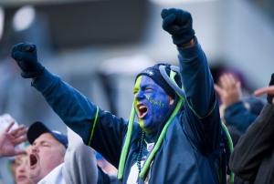Members of the 12th Man roar their approval during the second quarter.