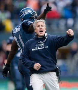 Pete Carroll gets pumped up after Stokley's touchdown.