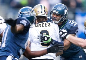 Seattle's Raheem Brock sacks New Orleans quarterback Drew Brees.