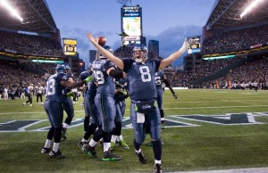 All 11 of the Seahawks offensive players gathered in the end zone after Lynch's touchdown, with quarterback Matt Hasselbeck leading the cheers.