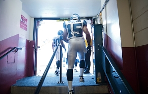 Seahawks rookie receiver Doug Baldwin, who played his college ball not far from Candlestick Park at Stanford University, leaves the locker room tunnel for the bright glare of the playing field.