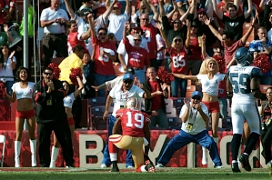 The 49ers faithful celebrate with Ginn and the San Francisco lead was 33-17.