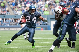 """Running back Marshawn Lynch regained some of his """"Beast Mode"""" swagger as the Seahawks rushed for more than 100 yards for the first time this season."""