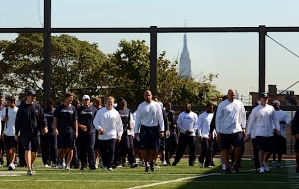 The Seahawks held a brief walk-thru at a New Jersey High School that featured a football stadium atop a building. The multisport field featured elevated views of New York City, including the Statue of Liberty, which peeks above the trees.