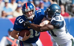 Seattle's Chris Clemons continued his outstanding play with a sack of New York quarterback Eli Manning.