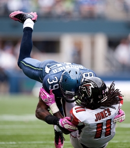 Brandon Browner puts a hard hit on Atlanta's Julio Jones.