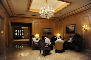 Seahawks players relax in the lobby of the team hotel in-between meetings on Saturday in Cleveland.