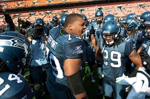 Red Bryant, the heart and soul of the Seahawks defense, fired up his teammates on the field during pregame.