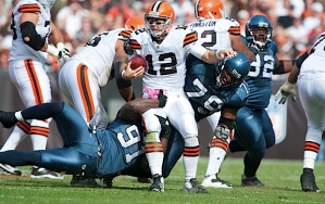 Seattle's Chris Clemons continued his fine play with two quarterback sacks of Cleveland's Colt McCoy