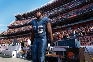 Offensive tackle Russell Okung leaves the sideline at the end of the 6-3 loss.