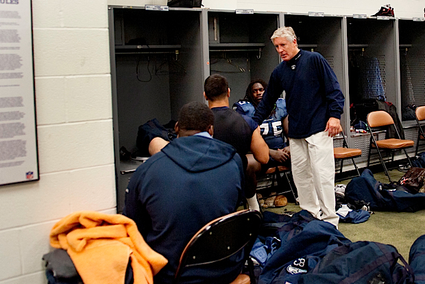 Head coach Pete Carroll walked through the locker room and spoke to each player after the game.
