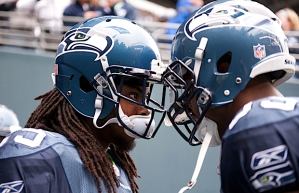 Cornerbacks Richard Sherman, left, and Brandon Browner got face-to-face right before being introduced as starters.