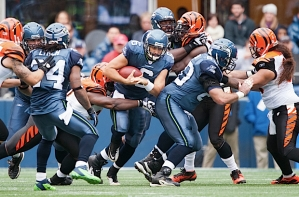 Charlie Whitehurst started at quarterback for the Seahawks and was sacked on Seattle's opening drive.