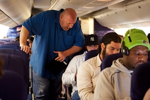 High in the air somewhere over the midwest, offensive line coach Tom Cable was already going over game video with rookie right guard John Moffitt as staff and players wasted no time working to find ways to improve.