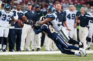 Brandon Browner got the best of Rams receiver Brandon Lloyd on this pass along the Seahawks sideline.