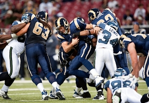 With a lead, the Seahawks defense was free to pressure  Bradford, and Roy Lewis got the sack on this play.