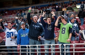 Seahawks fans were well-represented in St. Louis, and they gathered behind the team's bench in the fourth quarter to show their support.