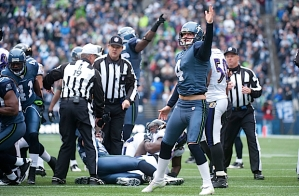 Seattle kicker Steven Hauschka signals that the Seahawks have recovered Baltimore's second fumbled return of the first half.