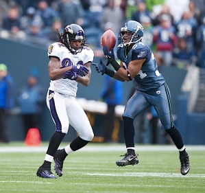Seattle's defense held up against Baltimore's 52 pass attempts, and Roy Lewis nearly intercepted this pass intended for the Ravens' Torrey Smith.
