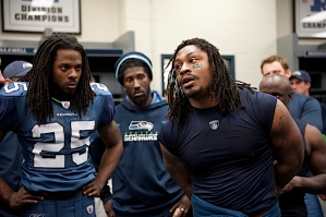Marshawn Lynch, who is normally reserved in the locker room, stepped up and spoke to the team after the game.