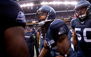 Cornerback Richard Sherman also intercepted a pass by Rex Grossman, then returned to the sidelines pumped up by the turnover.