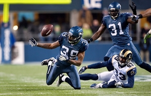 Seahawks cornerback Brandon Browner collected his team-high fifth interception of the season, sitting in wait for a route he'd remembered from the two teams' first meeting in St. Louis earlier in the season.