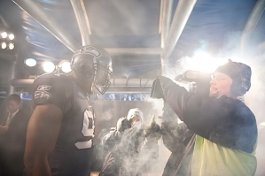 Chris Clemons, who Pete Carroll has acknowledged was a key acquisition last season, stares into the television camera before leaving the tunnel during pregame introductions.