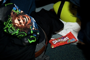Skittles-mania has overtaken Seattle thanks to Marshawn Lynch, and sure enough, a bag could be found in the depths of his locker before the game.