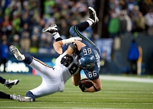 Tight end Zach Miller has been a stalwart blocking for the run game, but caught two passes against St. Louis.