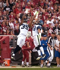 Cornerback Brandon Browner and safety Earl Thomas both earned Pro Bowl honors for the 2011 season, and plays like this double-team against Arizona's Larry Fitzgerald in Week 17 were part of the reason why.