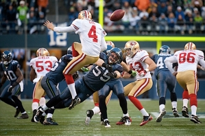 Heath Farwell joined the Seahawks during the 2011 season and made a huge impact on special teams. His blocked punt against San Francisco set up a touchdown by Marshawn Lynch, the first rushing touchdown the 49ers had given up all season.